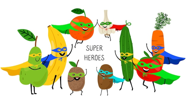 Super vegetables fruits. superheroes with smiles and masks, carrot tomato banana orange pear isolated on white Premium Vector