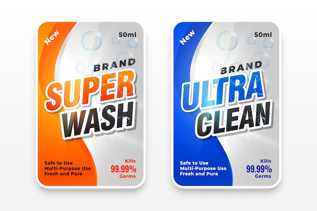 Super wash and ultra clean detergent label Free Vector