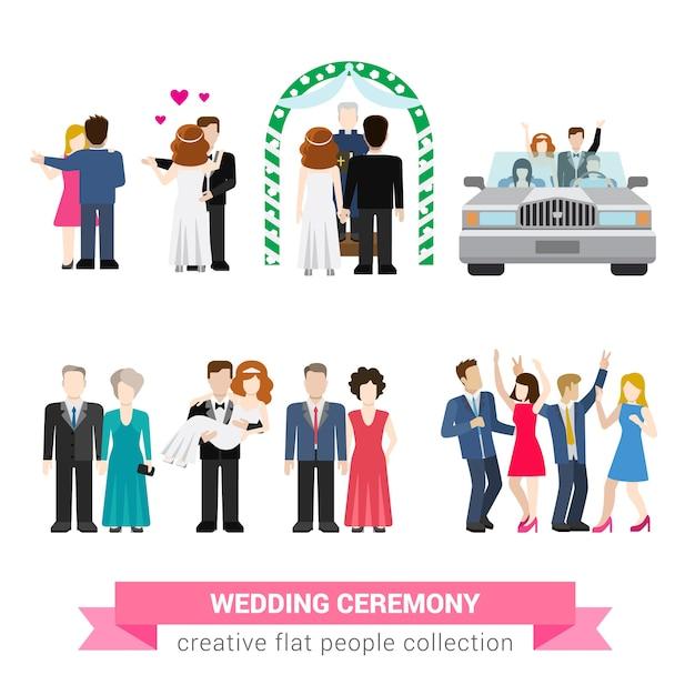 슈퍼 결혼식 결혼 플랫 스타일 사람들이 설정합니다. 신혼 부부 아내 남편 신부 신랑 댄스 손님 들러리 들러리 안내 신혼 여행. 창조적 인 개념적 그림 모음 무료 벡터