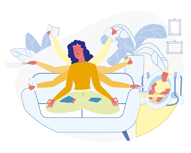 Super woman and mom with many hands. busy female Premium Vector