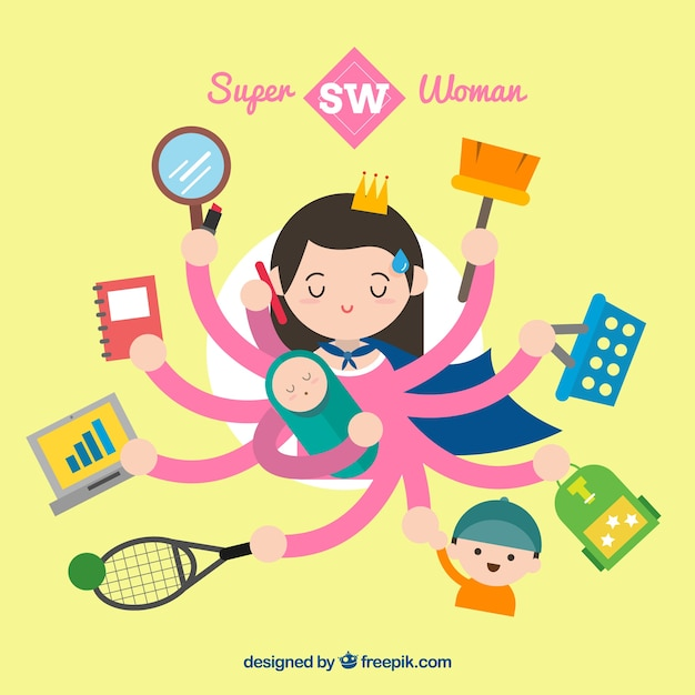 Super woman multitasking illustration Free Vector