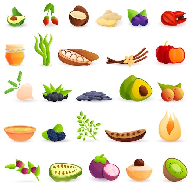 Набор иконок superfood, мультяшном стиле Premium векторы