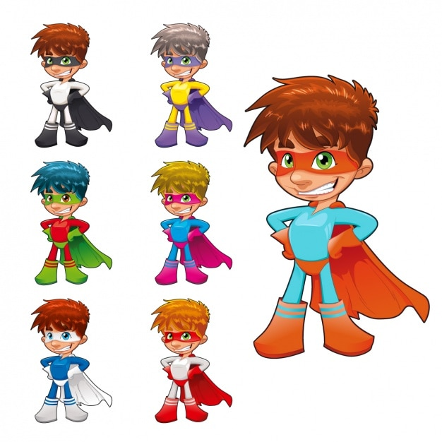 Superhero boy collection Free Vector