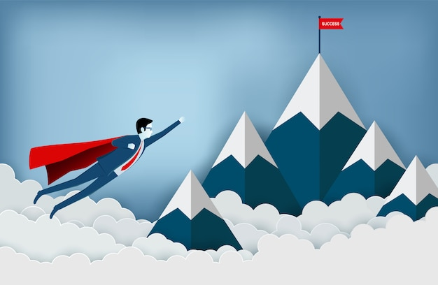 Superhero businessmen are flying to the red flag target on mountains while flying above a cloud. Premium Vector