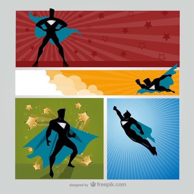 Superhero cartoon banners Free Vector
