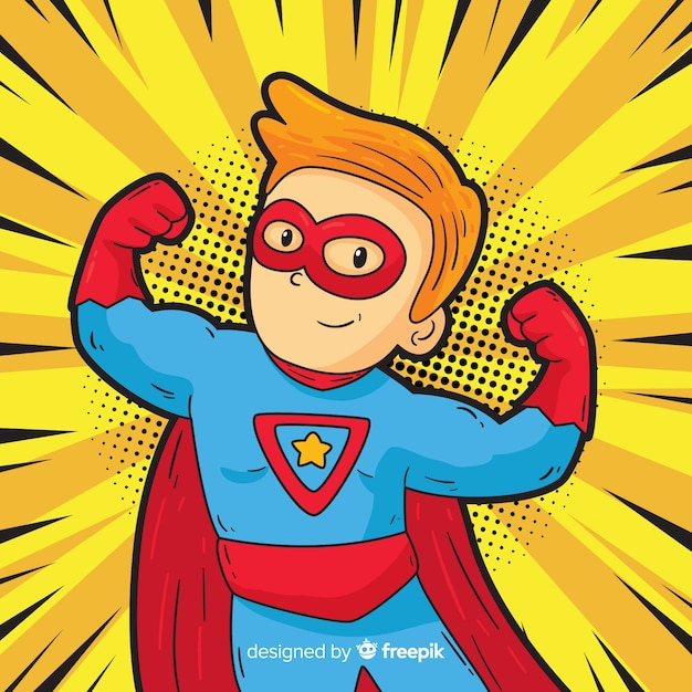 Superhero character with pop art style Free Vector
