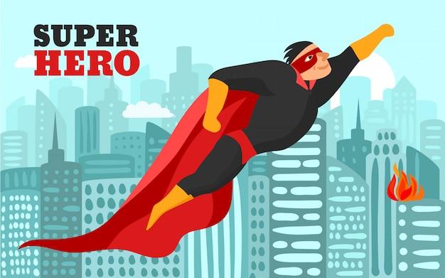 Superhero in city illustration Free Vector