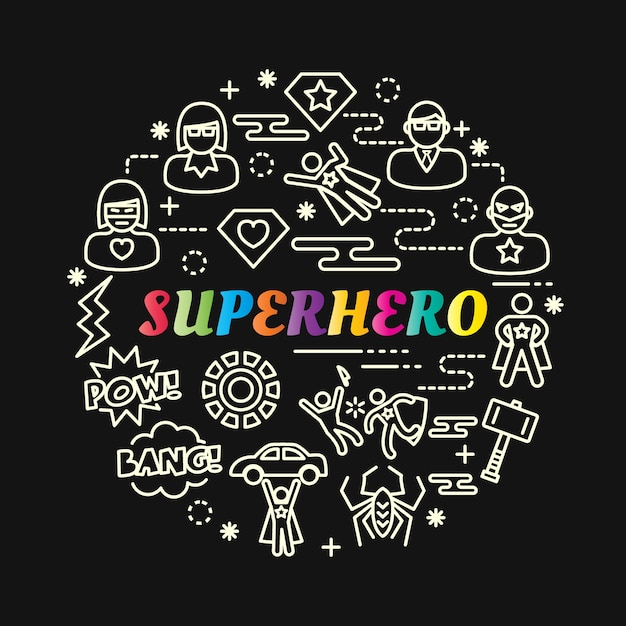 Superhero colorful gradient with line icons set Premium Vector