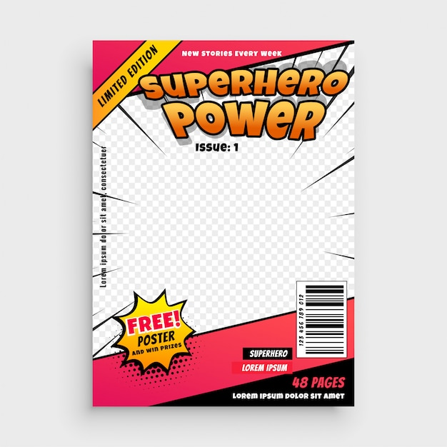 Superhero comic magazine front cover page design Free Vector
