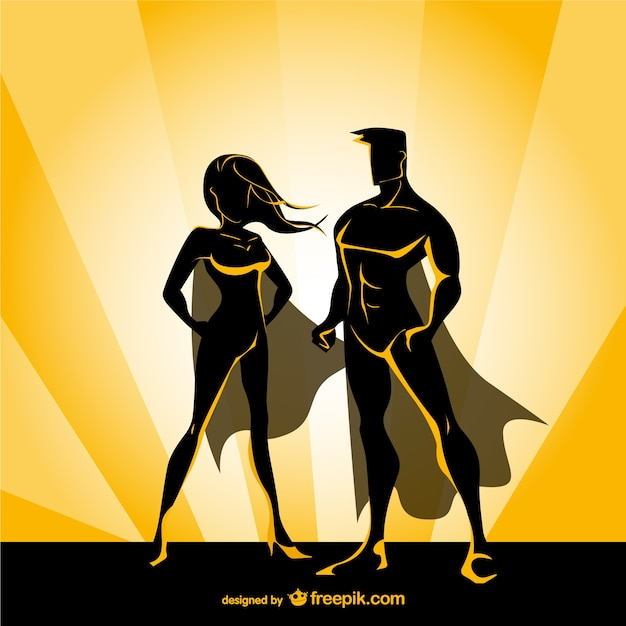 Superhero couple Free Vector
