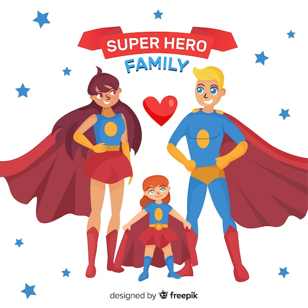 Superhero family concept in flat style Free Vector