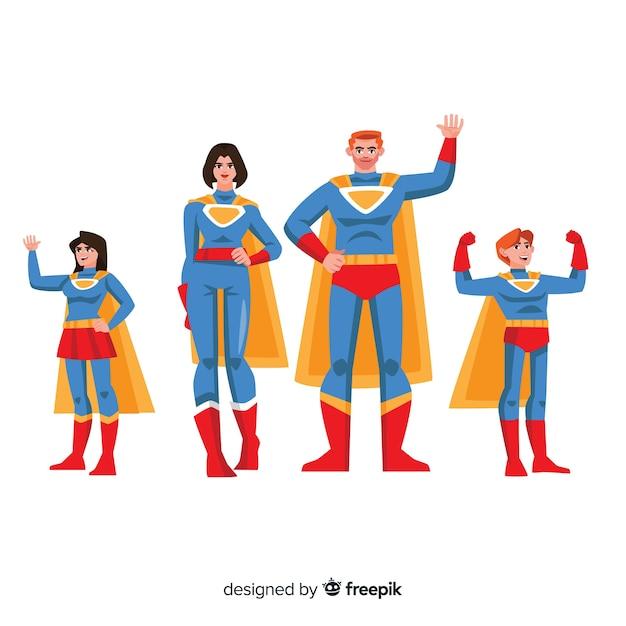 Superhero family concept Free Vector