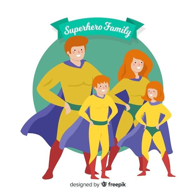 Superhero family design Free Vector