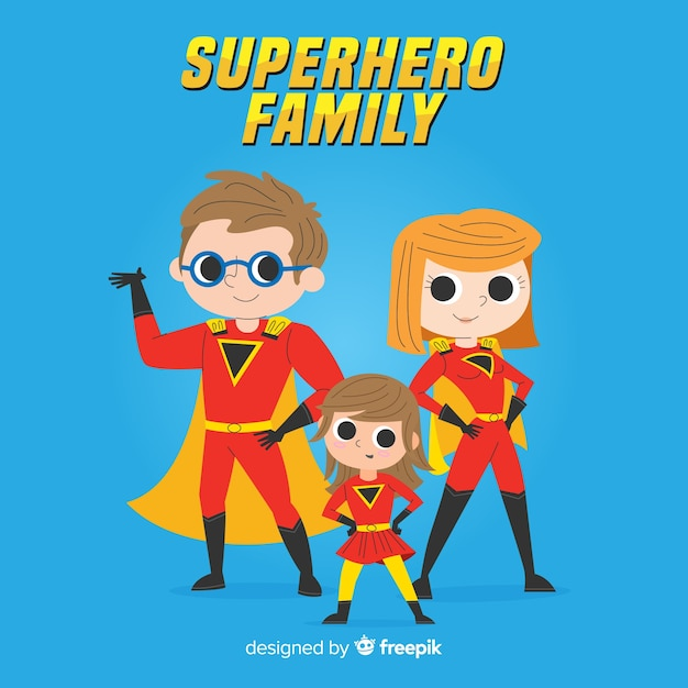 Superhero family design Free Vector