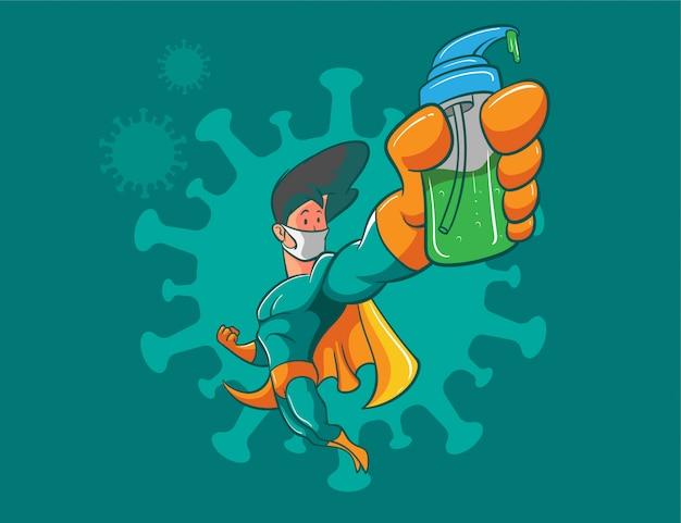 Superhero fight against coronavirus illustration Premium Vector