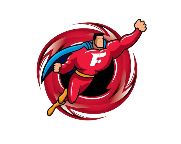 Superhero Flying Over Ring Of Fire Premium Vector