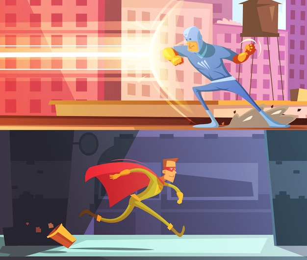 Superhero horizontal cartoon banners set Free Vector