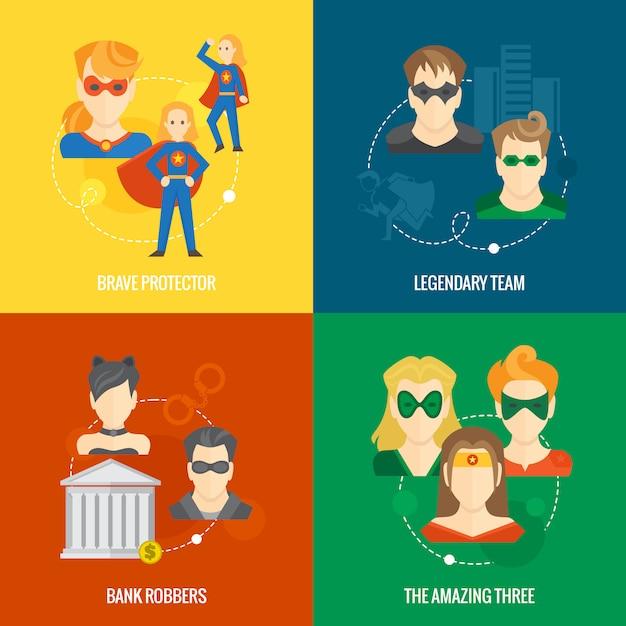 Superhero icon flat composition Premium Vector