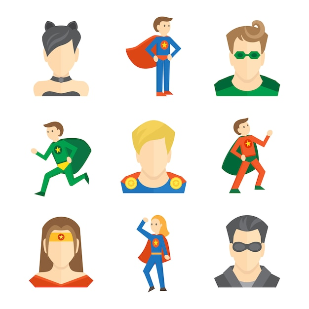 Superhero icon flat Premium Vector