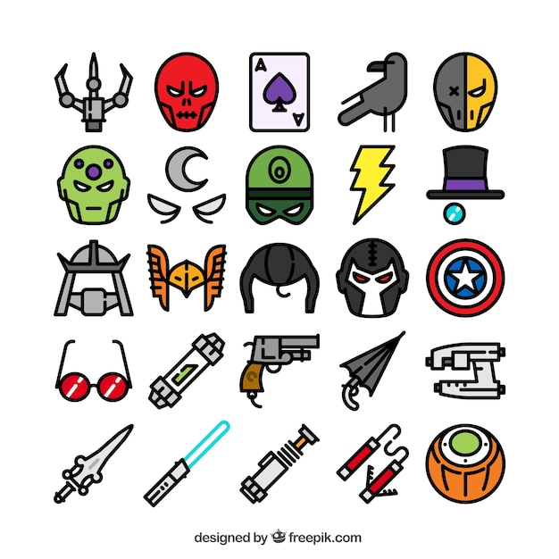 Superhero icons collection Free Vector