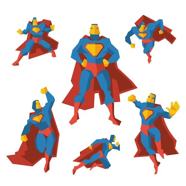 さまざまなアクションのスーパーヒーロー。コスチュームのスーパーヒーロー、多角形の幾何学的な男はマントを着ています。ベクトルイラストセット 無料ベクター