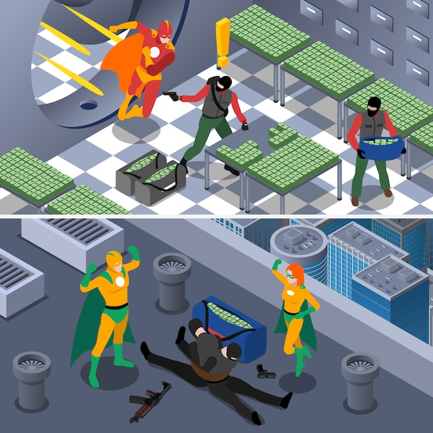 Superhero isometric background set Free Vector