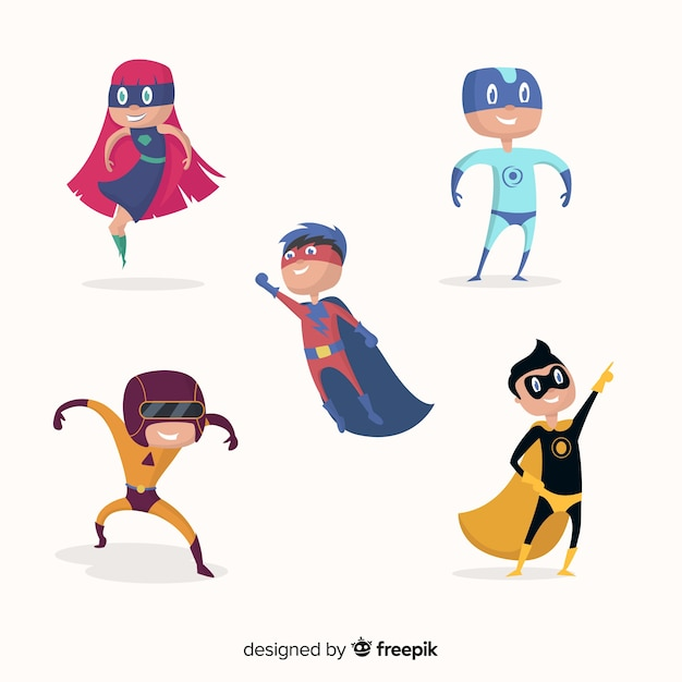 Superhero kid collection Free Vector