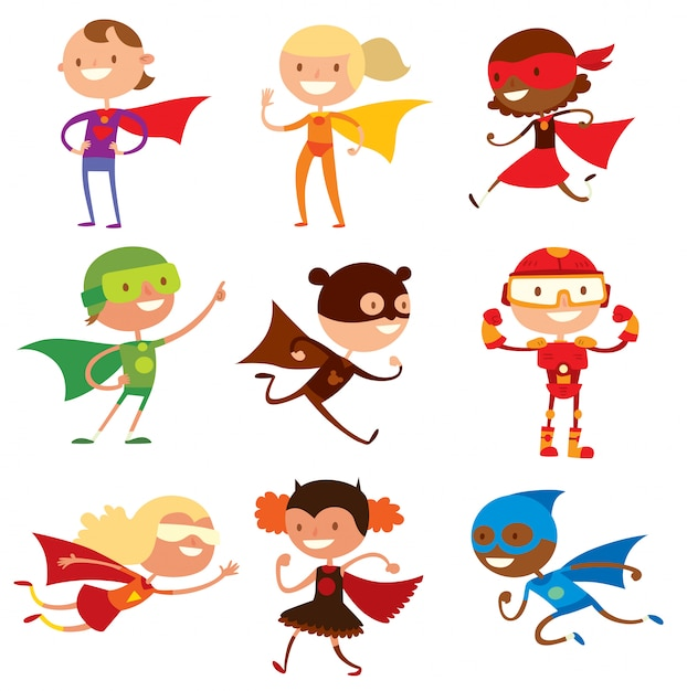 Superhero kids boys and girls cartoon vector illustrationt Premium Vector