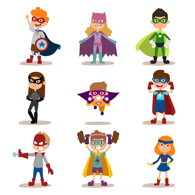 Superhero kids boys and girls cartoon vector illustrationt Premium Vector