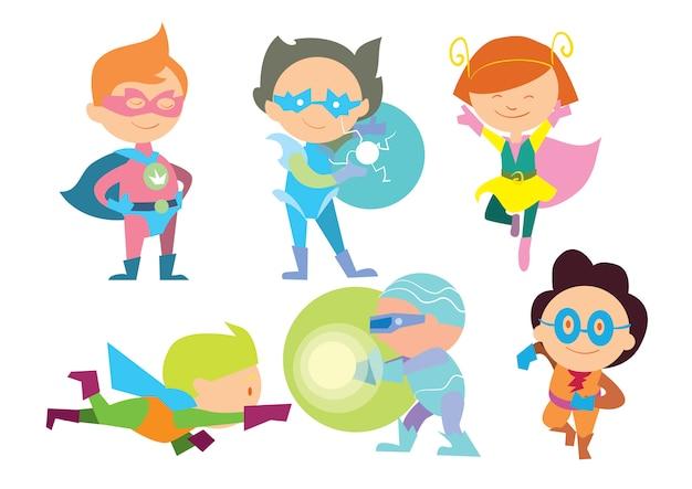 Superhero kids boys and girls cartoon vector Premium Vector
