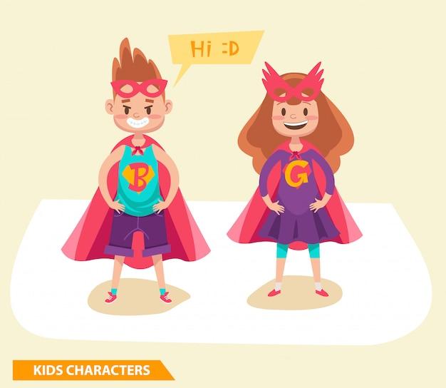 Superhero kids boys and girls characters design Premium Vector