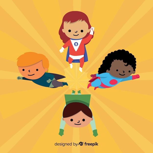 Superhero kids collection Free Vector