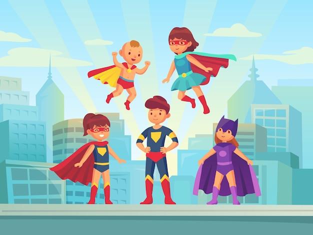Superhero kids team Premium Vector