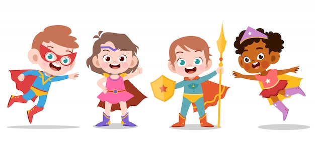 Superhero kids Premium Vector