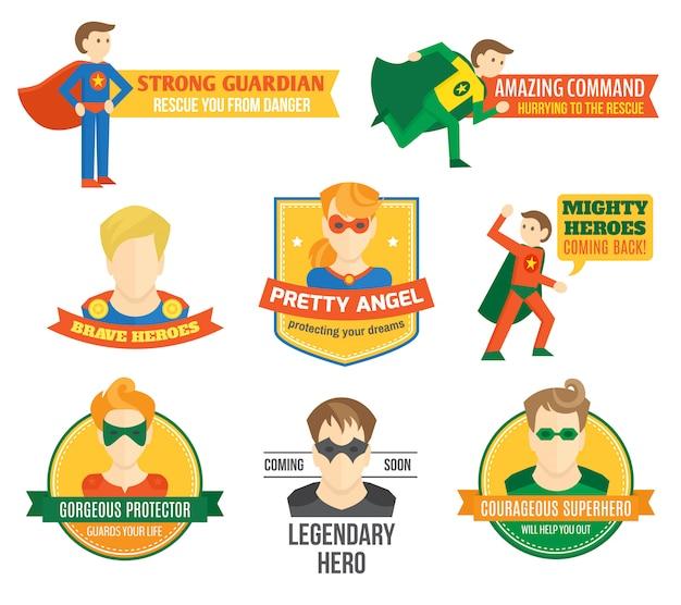 Superhero label Premium Vector