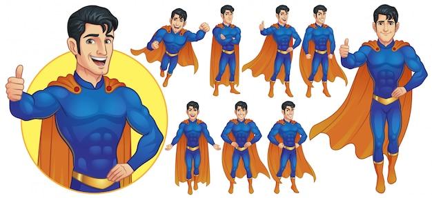 Персонаж талисмана супергероя в девяти позах Premium векторы