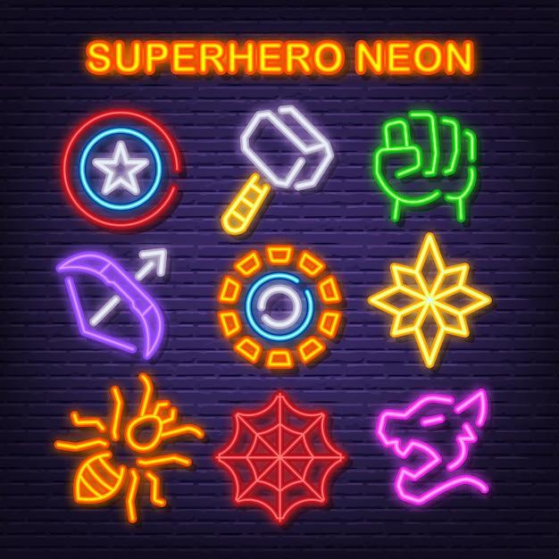 Superhero neon icons Premium Vector