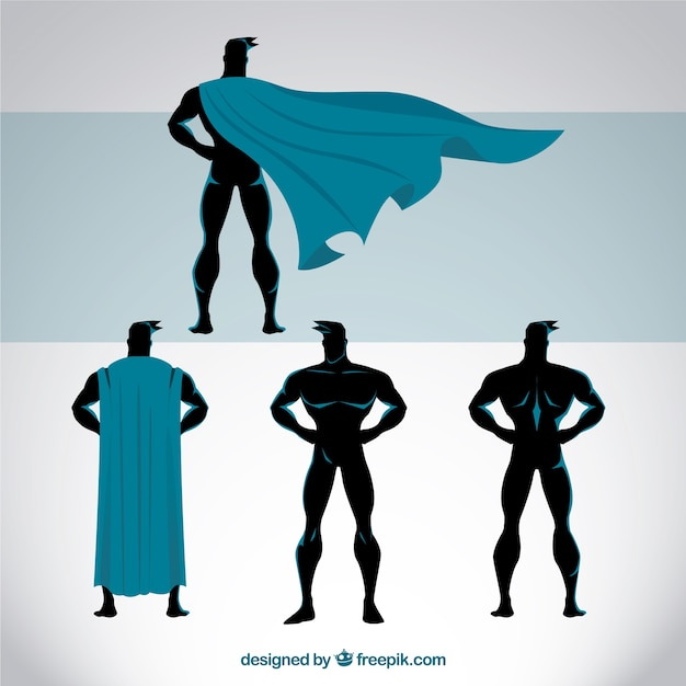 Superhero poses Free Vector