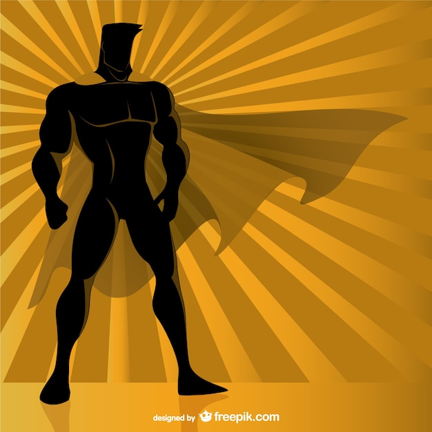 Superhero silhouette Free Vector