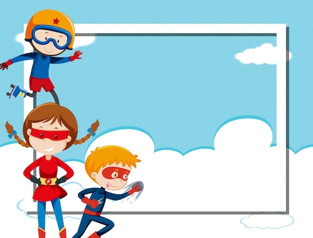 Superhero on sky frame Free Vector