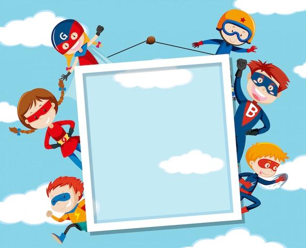 Superhero on on sky frame Free Vector