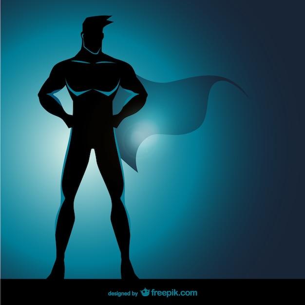 Superhero standing pose Free Vector