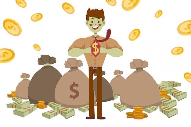 Бизнесмен супергероя сильный с зеленой кожей, иллюстрацией. парень в рубашке и футболке с гужевой знак доллара. сумка денег Premium векторы