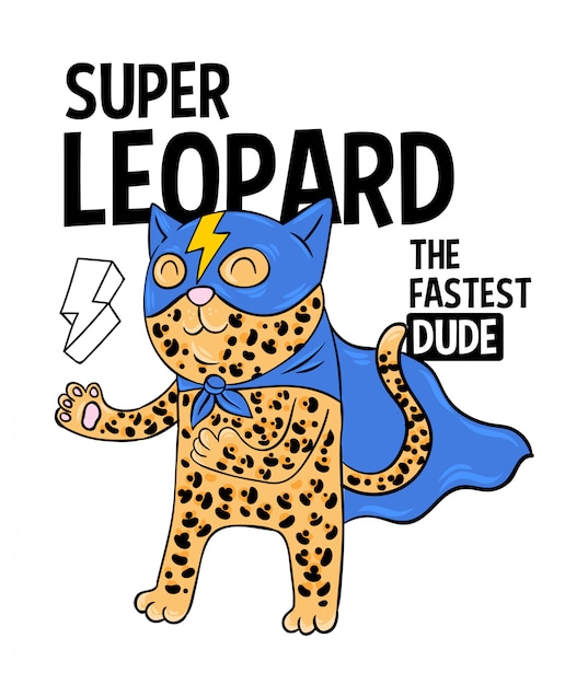 Superhero super leopard the fastest in mask. doodle print design modern   cartoon illustration for children kid girls fashion print design for t-shirt clothes tee coloring badge patch sticker pin Premium Vector