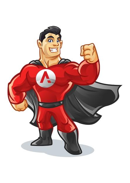 Superhero supply mascot design Premium Vector