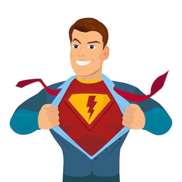 Superhero tearing shirt and wearing costume Premium Vector