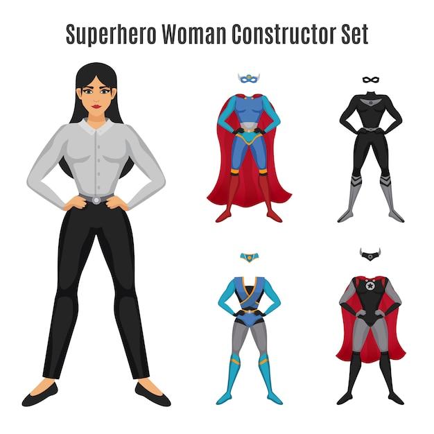 Superhero woman constructor set Free Vector