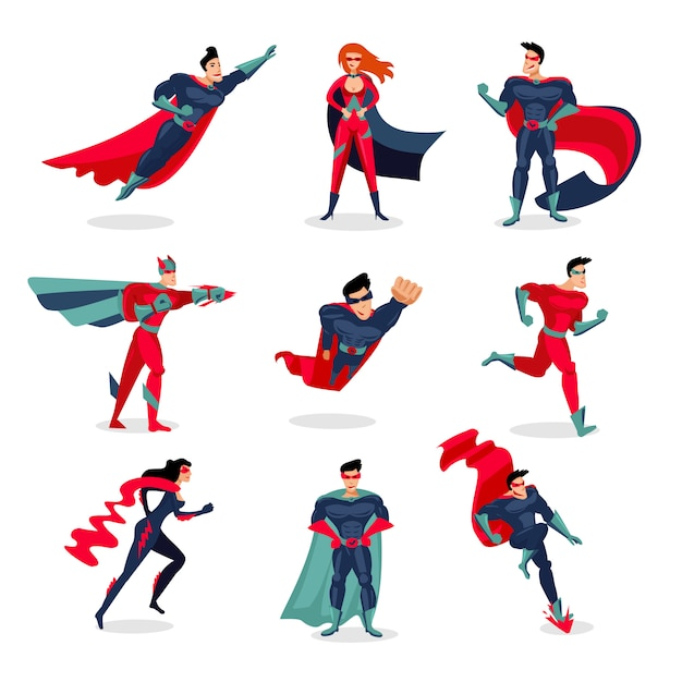 Набор символов супергероев Бесплатные векторы
