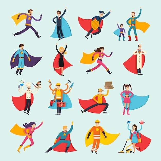 Superheroes orthogonal flat people set Free Vector