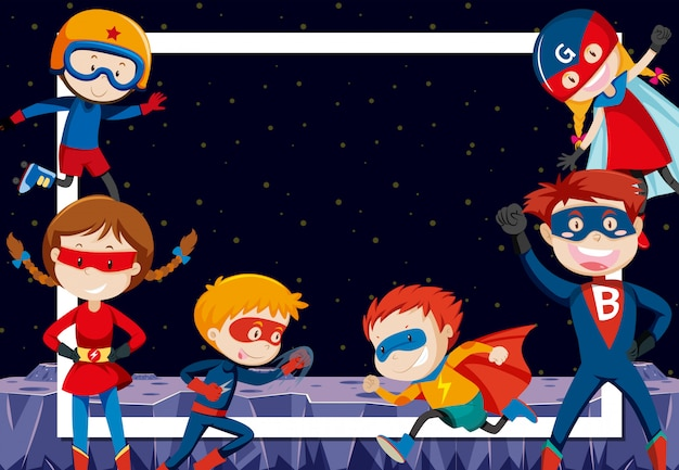 Superheroes in outer space Free Vector